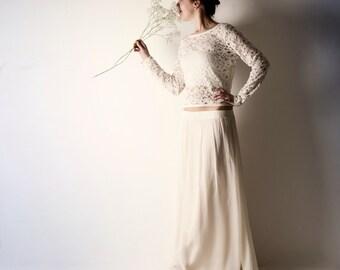 Lace wedding top, Wedding dress separates, Long sleeve wedding top, Wedding separates, Boho wedding dress, Alternative wedding dress