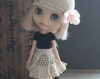 Blythe Crochet Beanie Hat with Silk Ribbon