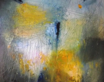 Abstract oil painting, original fine art, golden yellow, amber, Prussian blue,  orange, white, grey, textural, square, 16 x 16 inches