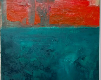 Abstract painting, original fine art, oil on canvas, warm bright cadmium red, cool teal viridian,  oil on canvas, 20 x 16 inches