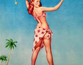 Sale - RARE Variation -ELVGREN - Tops Em All, with a Bikini TOP Island girl pin-up - Hula - Tiki - Hawaii - Large Canvas 20x24 Pinups