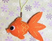 Happy Orange Goldfish Felt Ornament, Felt Hanging Decoration, Felt Keychain, Felt Toy, Felt Fish, Felt Gold Fish, Cute Gift