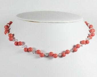 Coral Bridesmaid Necklace, Coral & Silver, Orange Bridesmaid Jewelry, Coral Wedding Bridal Necklace, Coral Weddings, Orange Jewelry