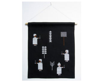 hand stitched Soup Ghosts wall hanging