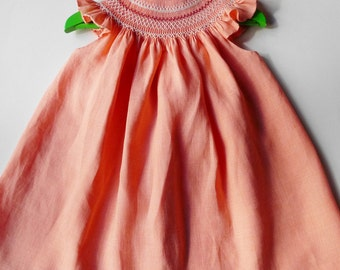 The Charming Bishop in Coral Linen - The essential - The upgrowth dress - 1 year