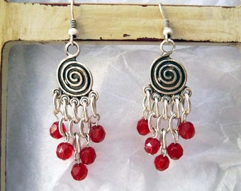 Chandelier Earrings, Silver Plated Pewter Earrings with Red Crystal Dangles and Infinity Circle Design