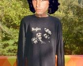 vintage 90s rock t-shirt BON JOVI long sleeve thermal waffle black tee Medium Large bonjovi