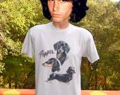 vintage 80s t-shirt PEPPER dachshund dog weiner airbrush Medium wtf pet