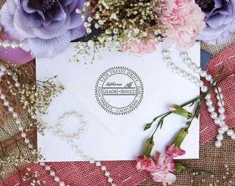 Return Address Stamp, Custom Personalized Stamper, Rubber Wood Mount Clear Block Stamp, round Dot Address Stamp, Self Inking, Ink Pad --2618