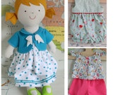 Tilly : Doll with doll clothes sewing pattern . Dress, cardigan, romper, shirt, shorts PDF