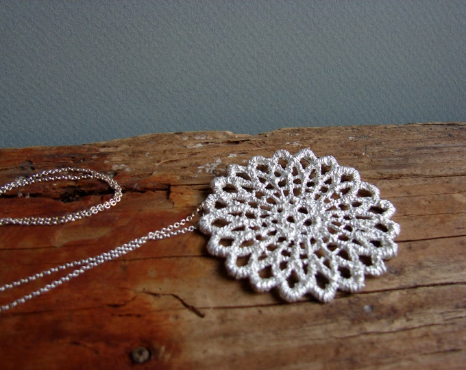 Lace Necklace Silver Filigree Statement Necklace Big Mandala Pendant Long Necklace Boho Chic