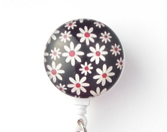 White Daisies on Black on Retractable ID Badge - Name Badge Holder 262