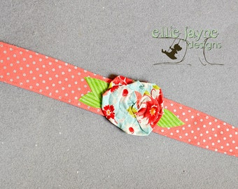 Whimsy Wrap Coral Dots blue rose flower Fabric Headband