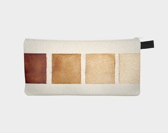 Brown Watercolor Swatches Pencil Case Cosmetic Bag Makeup Pouch Travel Zipper Case