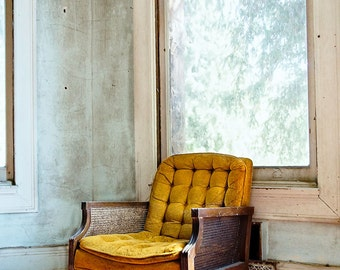 Vintage Chair Photo, Urban Decay Photography, French Home Decor Print, Old Chair, Aqua & Yellow Large Wall Art, Preston Castle Chair
