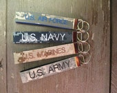 Military Wristlet, Army, Navy, Air Force, Marine Name Tape Key Chain, Personalized Military Keychain, Military Branch Key Fob