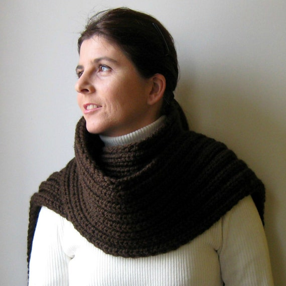 Brown Wool Chunky Knit Scarf, Winter Neck Warmer, Womens Scarves, Shawl, Hand Knit, Fringes Long Scarf, Wrap Scarf, Cute Scarf, Man Scarf