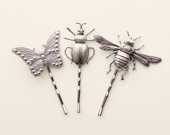 Insect hair clips, Butterfly and bug gift set, Silver metal bugs, insect bobby pins, hair pin set, Unique gift for her, Entomology gift set