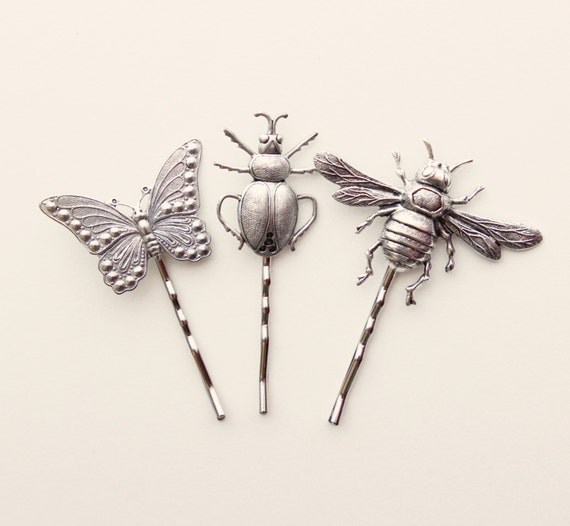 Insect hair clips, Butterfly and bug gift set, Silver metal bugs, insect bobby pins, hair pin set, Unique gift for her - ENTOMOLOGY