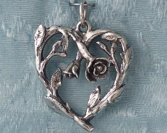 Large Rose Vine Heart Sterling Silver Pendant Charm