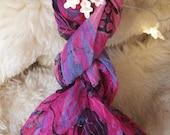 Vintage 1960's Silk Scarf Bright Pink Scarf Mid Century Scarf Retro Scarf Pink Black Gray Blue Ladies Scarf Accessory