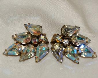 Vintage Rhinestone Clip on Earrings Bling New Years Eve Party Earrings, Costume Earrings Diamond Shape Rhinestone Earrings, High Fashion