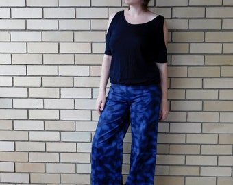 Flared Pants Bell Bottom Trousers Flares Glitter Bellbottoms Club Kid Disco Rave EDM Y2K Music Festival Space Grunge Wide Leg Navy Galaxy