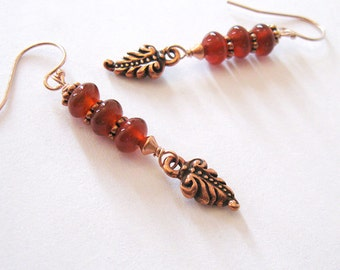 Red Carnelian Gemstone Earrings, Rose Gold Filled, Autumn Leaf Dangle, Fall Color