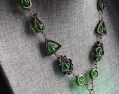 Neo Victorian Jewelry - Necklace - Green Drop locket with glowing orb Antique Bronze