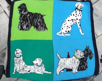 Dogs Silk Scarf- Adrienne Vittadini Designer- Dalmatian Terrier Retrievers Spaniel- Turquoise Blue Green COLOR BLOCK DESIGN Black White