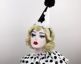 Black and White Clown Hat, Cirque Costume, Birthday Party Hat, Kids, Adults, Carnival, Burlesque Headpiece, Circus Hair Accessory