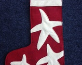 Red Starfish Felt Stocking Small