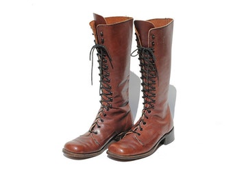 Size 9.5 Men's Mahogany Brown Tall Lace Boots