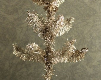 Favorite Silver Tinsel Feather Tree - 6 Inch Tall Retro Christmas Tree -  Vintage Style Holiday Display - Miniature Dollhouse Tree