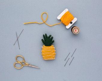 felt pineapple brooch - handmade fruit gift - tropical jewellery
