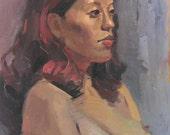 "Art painting nude portrait ""Dark Gaze"" 14x18 inch original oil by Oregon artist Sarah Sedwick"