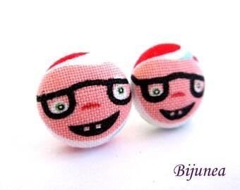 Dwarf earrings - Red dwarf stud earrings - Dwarf posts - Dwarf post earrings - Little people studs sf1243