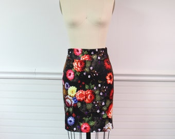 SALE Floral Skirt, Stretch pencil skirt, high waisted skirt with matching crop top