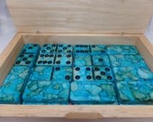 Depths of the Sea - Hand Painted 28 Piece Standard Size Domino Set in Handsome Lidded Wood Storage Box, alcohol inks, instructions
