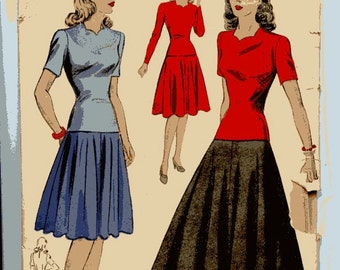 1940s Vintage DuBarry Dress Pattern 5309 Two Piece Fit & Flare Dress in Two Lengths Sweetheart Neckline, Two Sleeve Lengths  Sz 14, Bust 32
