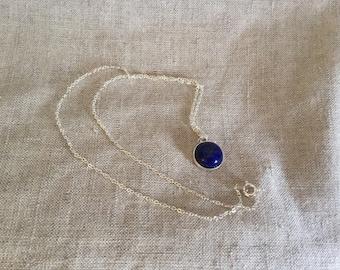 Lapis lazuli Necklace, navy blue gemstone necklace, bridal jewelry