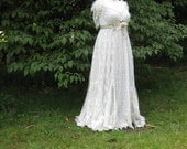 Hippie Lace Collage Gown One of a Kind ivory and green