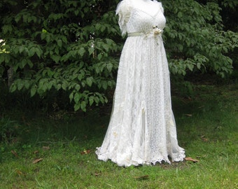 Hippie Lace Collage Gown One of a Kind ivory and green, Boho wedding Dress, Plus Size Wedding Dress, Unique wedding Dress, made to order