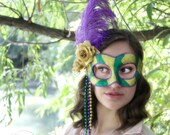 Mardi Gras Madam - Mardi Gras Mask in Green, Gold, and Purple - READY TO SHIP