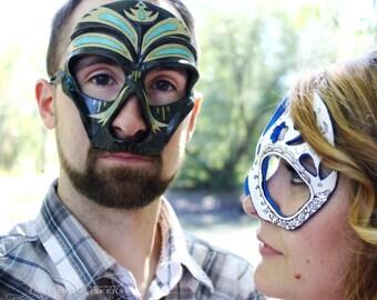 El Luchador - OOAK Masquerade Ball Black Skull Men's Mask in Paper Clay Papier Mache