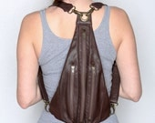 TRI Backpack and Fanny Sack in Brown Leather and Brass - Backpack and fanny pack in one!