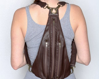 TRI ZIPPER Brown Leather Backpack and Fanny Pack With Brass Detailing