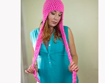 Hot Pink Long Ear Flap Hat Scarf