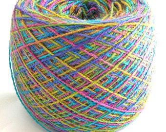 Hand Dyed Yarn Merino Silk Wool Lace Yarn 686 yards- Rainbow Fusion