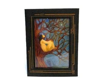 Vintage art deco pressed cardboard frame - Easel attached - Sky Watcher greeting card - Susan Seddon Boulet